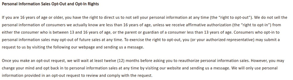 NVA Privacy Notice for California Residents: Personal Information Sales Opt-Out and Opt-In Rights clause