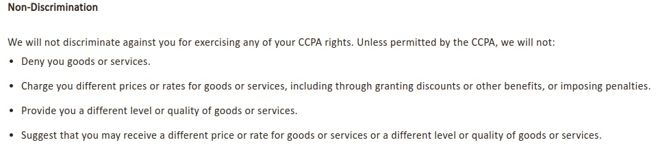 NVA Privacy Notice for California Residents: Non-Discrimination clause