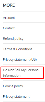Really Simple Plugins footer with Do Not Sell My Personal Information link highlighted