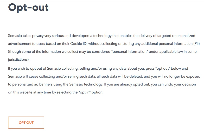 Semasio: Screenshot of Opt-Out page