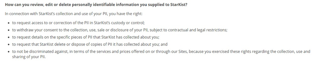 StarKist Privacy Policy: Excerpt of How to review, edit or delete PII clause
