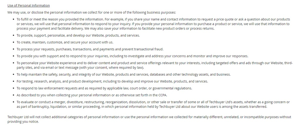 Techbuyer CCPA Privacy Notice: Use of Personal Information clause
