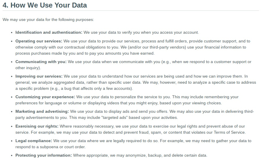 Vimeo Privacy Policy: How We Use Your Data clause
