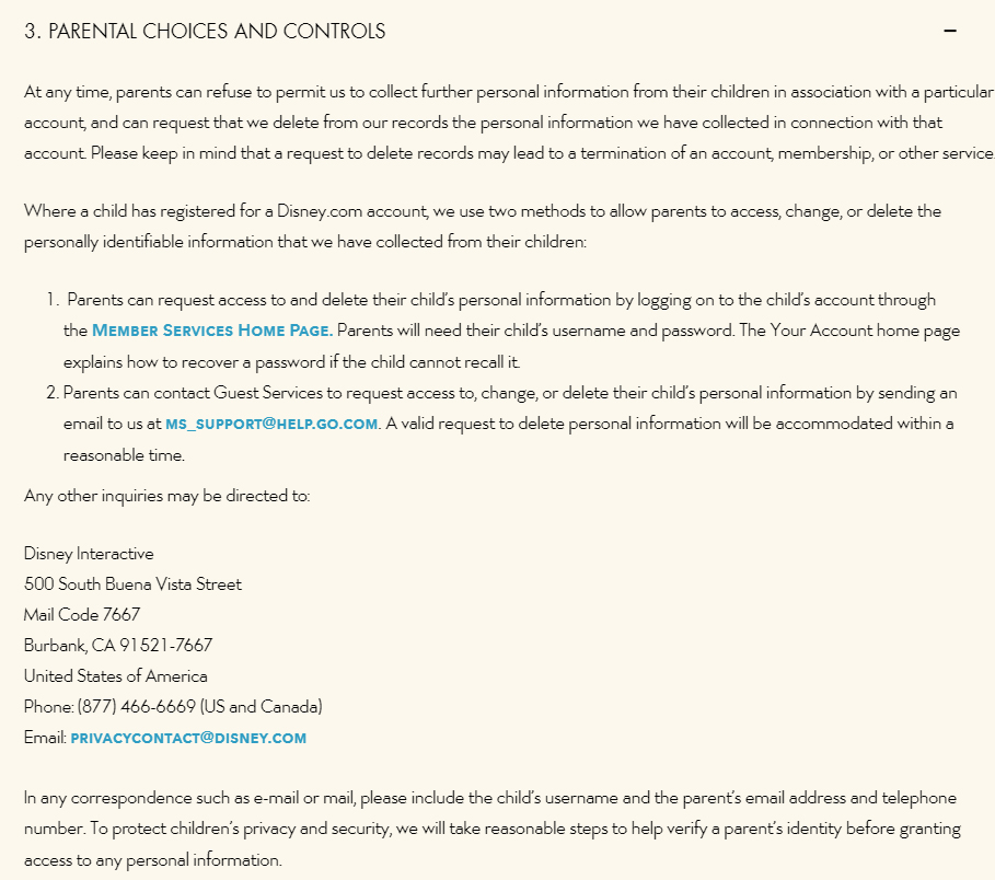 Walt Disney Company Children's Online Privacy Policy: Parental Choices and Controls clause