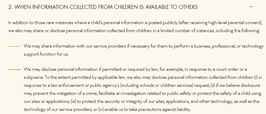 Walt Disney Company Children's Online Privacy Policy: Sharing of children's information clause