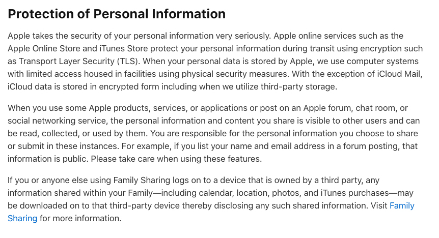 Apple Privacy Policy: Protection of Personal Information clause
