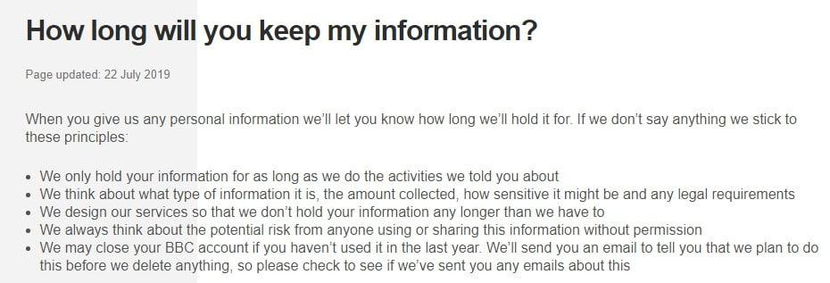 BBC Privacy Policy: Data retention clause