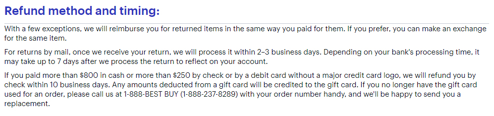 Best Buy Returns and Exchanges Policy: Refund method and timing section