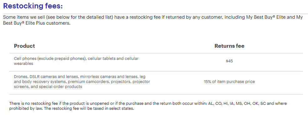 Best Buy Returns and Exchanges Policy: Restocking fees section