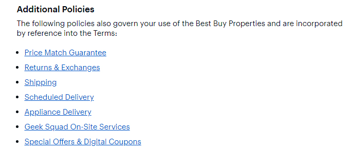 Best Buy Terms and Conditions: Additional Policies clause