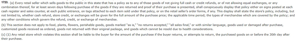 California Civil Code Section 1723: Return and refund policies