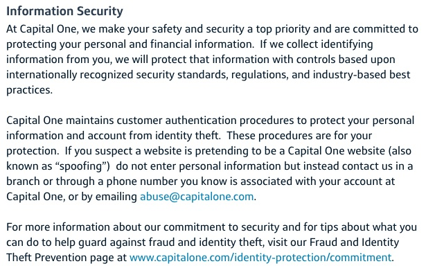 Capital One Privacy Statement: Information Security clause