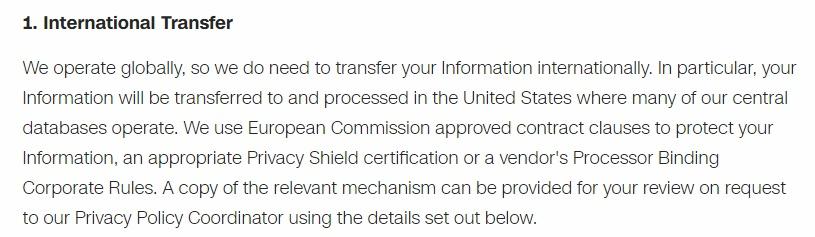 CNN Privacy Policy: International Transfer clause