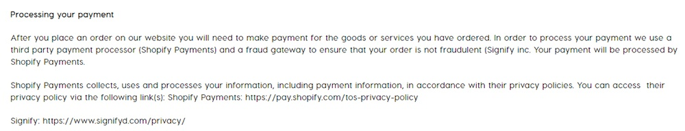 ColourPop Privacy Policy: Processing your payment clause