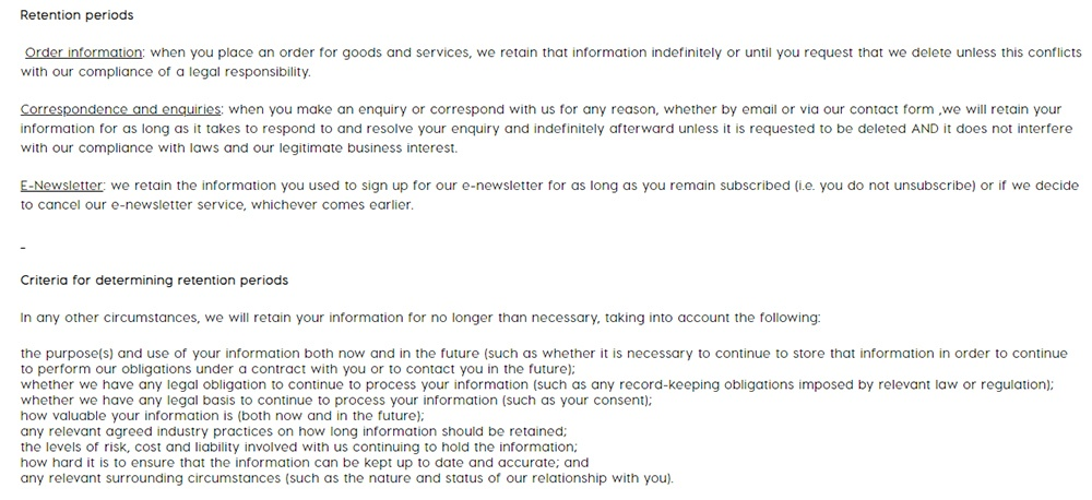 ColourPop Privacy Policy: Retention Periods and Criteria for Determining Retention Periods clauses