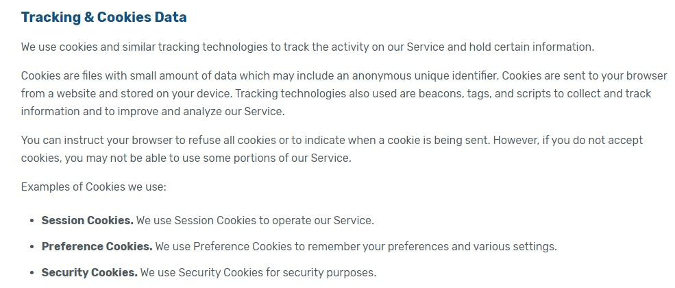 Curiscope Privacy and Cookie Policy: Tracking and Cookies Data clause