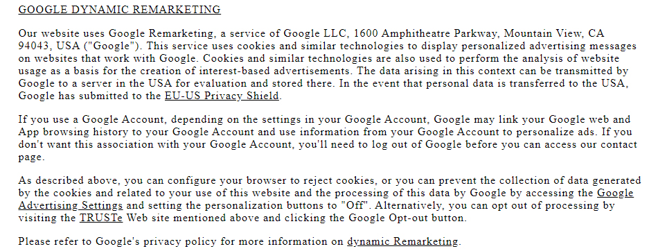 Drenge Cookies Policy: Google Dynamic Remarketing clause