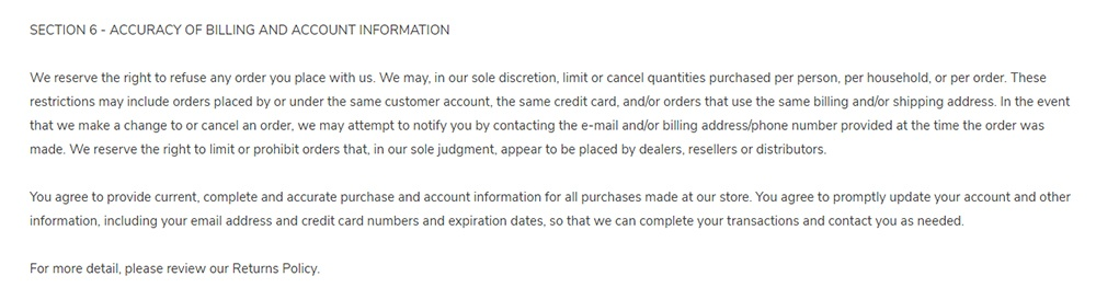 Fran's Cake and Candy Terms and Conditions: Accuracy of Billing and Account Information clause