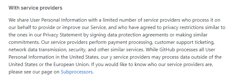 GitHub Privacy Statement: Service Providers - Subprocessors clause