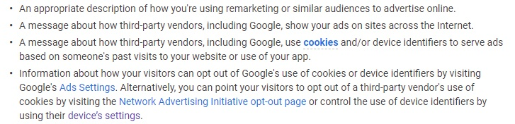 Google Ads Help Center - Manage Ads: Remarketing Privacy Policy requirements list