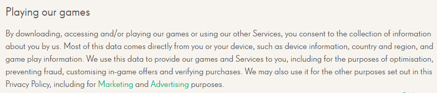 King Privacy Policy: Playing our games clause