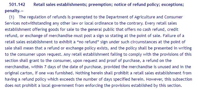 Online Sunshine: Florida statutes - 501.142: Notice of Refund Policy