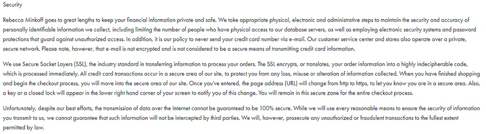 Rebecca Minkoff Privacy Policy: Security clause