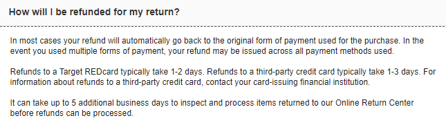 Target Return Policy: How will I be refunded for my return clause - Method and time