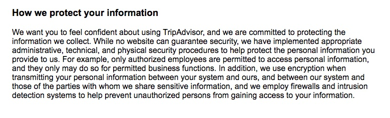 TripAdvisor Privacy Policy: How we protect your information clause