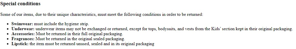 Zara Return Policy: Special Conditions section
