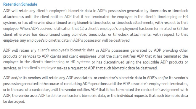 ADP Biometric Information Privacy Policy: Retention Schedule section