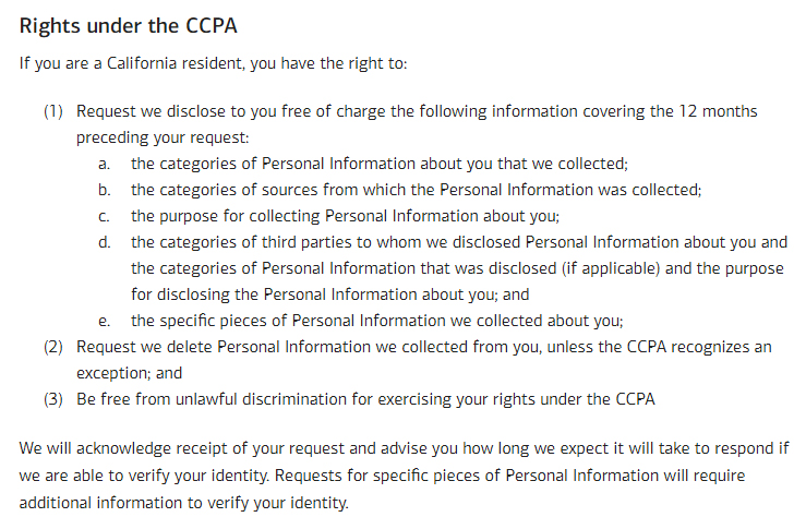 Bank of America Privacy Disclosure: Rights under the CCPA clause excerpt