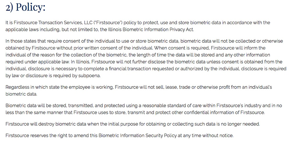 Firstsource Biometric Information Security Policy: BIPA clause