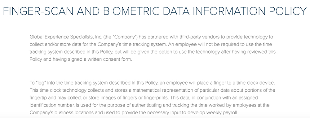 GES Finger-Scan and Biometric Data Information Policy: Third-party time clock section