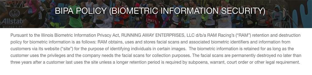 Screenshot of RAM Races BIPA Policy