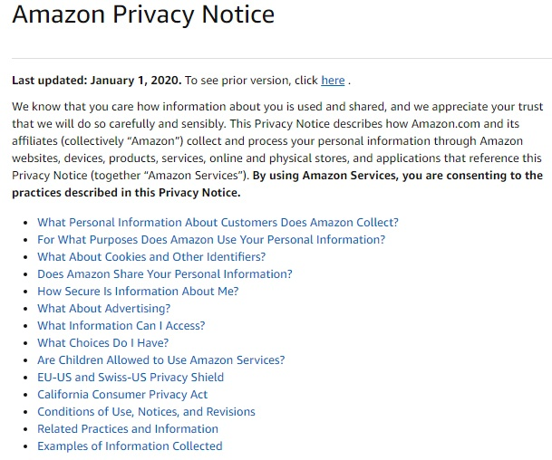 Amazon Privacy Notice: Intro and Table of Contents