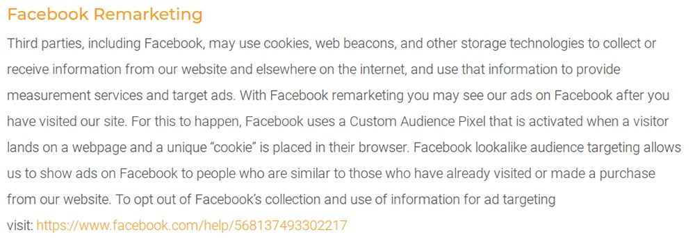 Creative Conservatories UK Privacy Policy: Facebook Remarketing clause