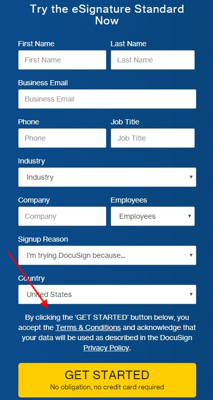 DocuSign sign-up form with agree and consent text highlighted