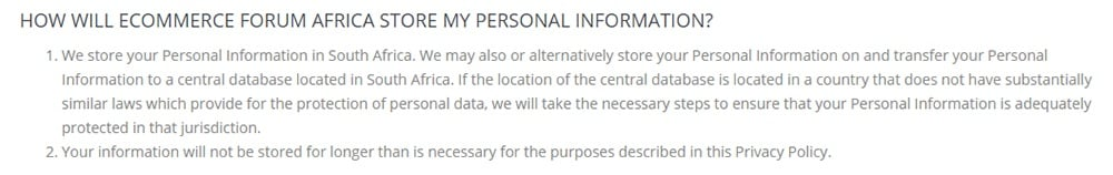 Ecommerce Forum Africa Privacy Policy: How will Ecommerce Forum Africa Store My Personal Information clause