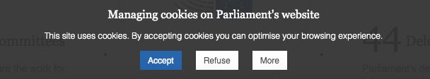 EU Parliament cookie consent notice