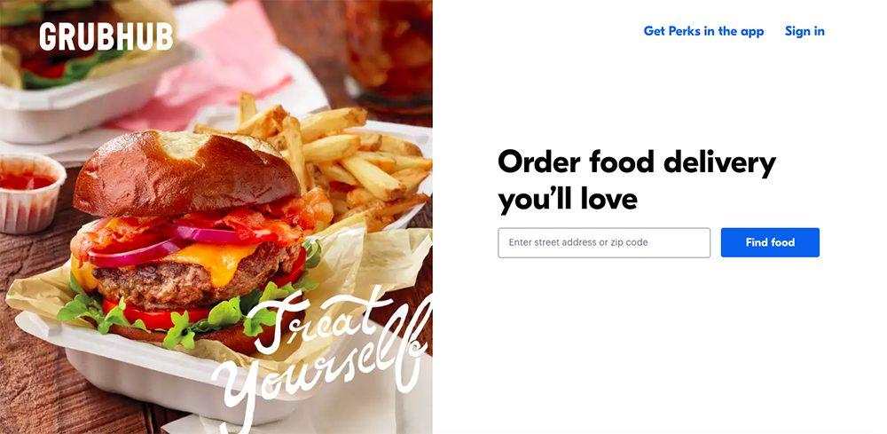 Screenshot of GrubHub landing page