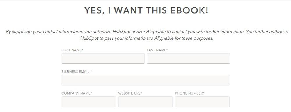 Excerpt of HubSpot eBook download form