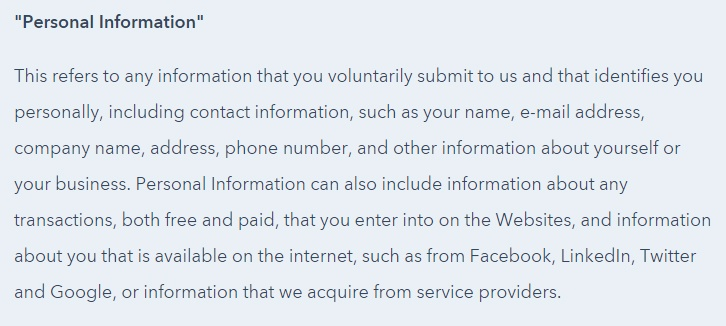 HubSpot Privacy Policy: Personal Information collected clause excerpt