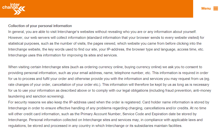 Interchange Privacy Policy: Collection of your personal information clause