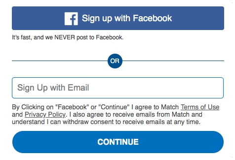 Match: Create account form with clickwrap button