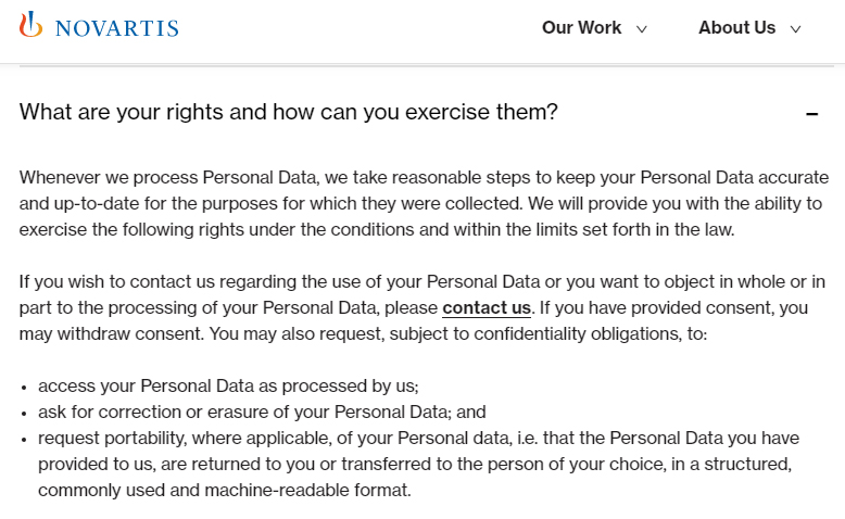 Novartis Privacy Policy: What are your rights and how can you exercise them clause