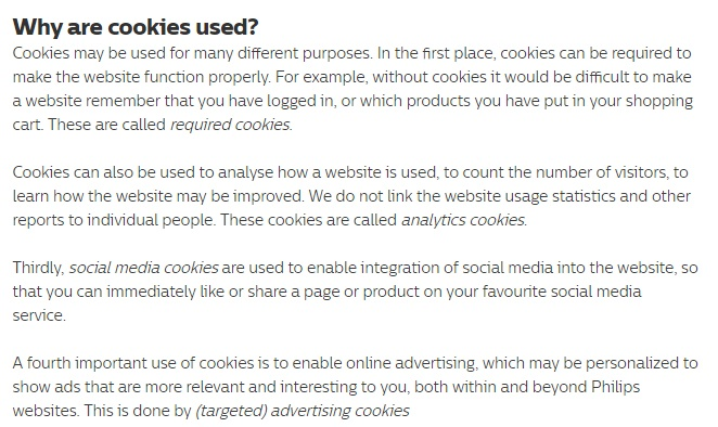 Philips UK Cookie Policy: Why are cookies used clause