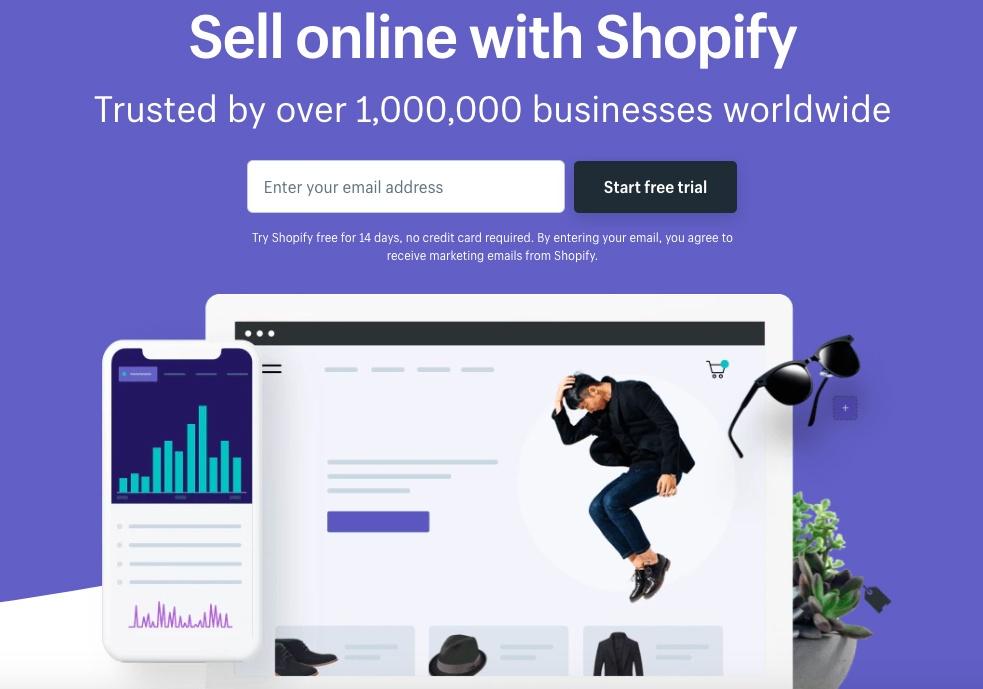 Screenshot of Shopify landing page