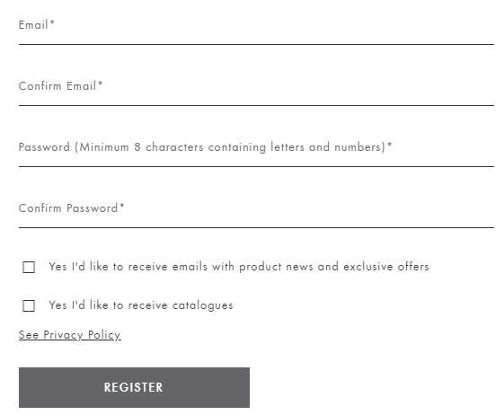 Sweaty Betty: Create account form with checkboxes to consent to receiving emails and catalogues