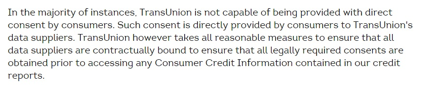 TransUnion Privacy Policy: Ensuring that required consent is obtained clause
